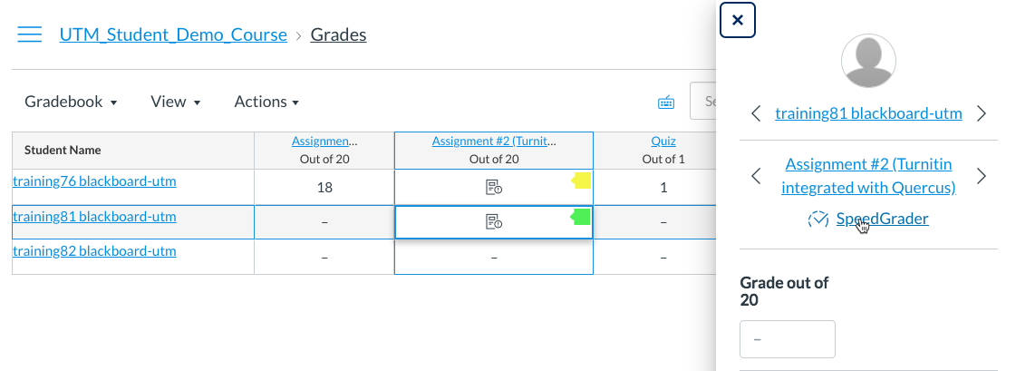 Gradebook - Select SpeedGrader