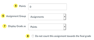 Assignment settings steps 5, 6, 7, 8